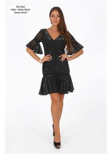 Carmen Carmen Siyah Dantel Payetli Volanlı Abiye Elbise Siyah